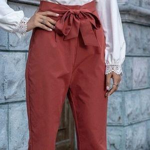 Tie front zip back tapered pants